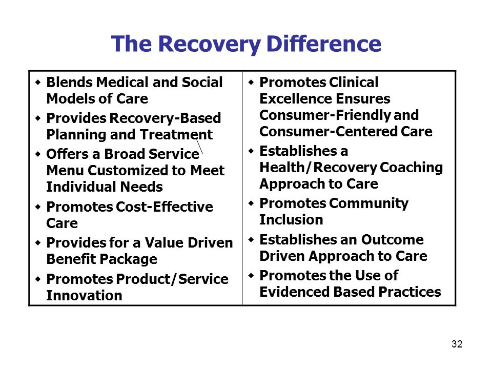 32 The Recovery Difference  Blends Medical and Social Models of Care  Provides Recovery-Based Planning and Treatment  Offers a Broad Service Menu Customized to Meet Individual Needs  Promotes Cost-Effective Care  Provides for a Value Driven Benefit Package  Promotes Product/Service Innovation  Promotes Clinical Excellence Ensures Consumer-Friendly and Consumer-Centered Care  Establishes a Health/Recovery Coaching Approach to Care  Promotes Community Inclusion  Establishes an Outcome Driven Approach to Care  Promotes the Use of Evidenced Based Practices