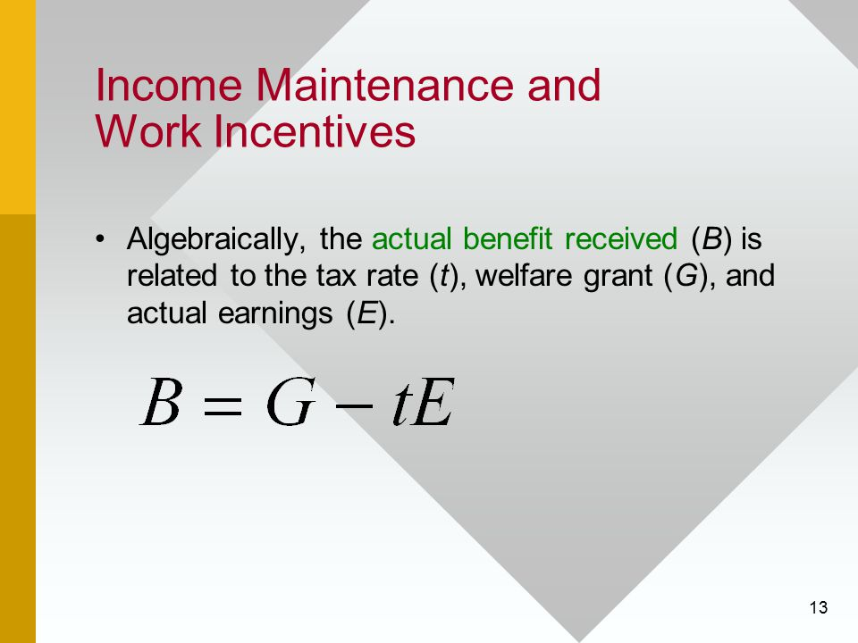 13 Income Maintenance and Work Incentives Algebraically, the actual benefit received (B) is related to the tax rate (t), welfare grant (G), and actual