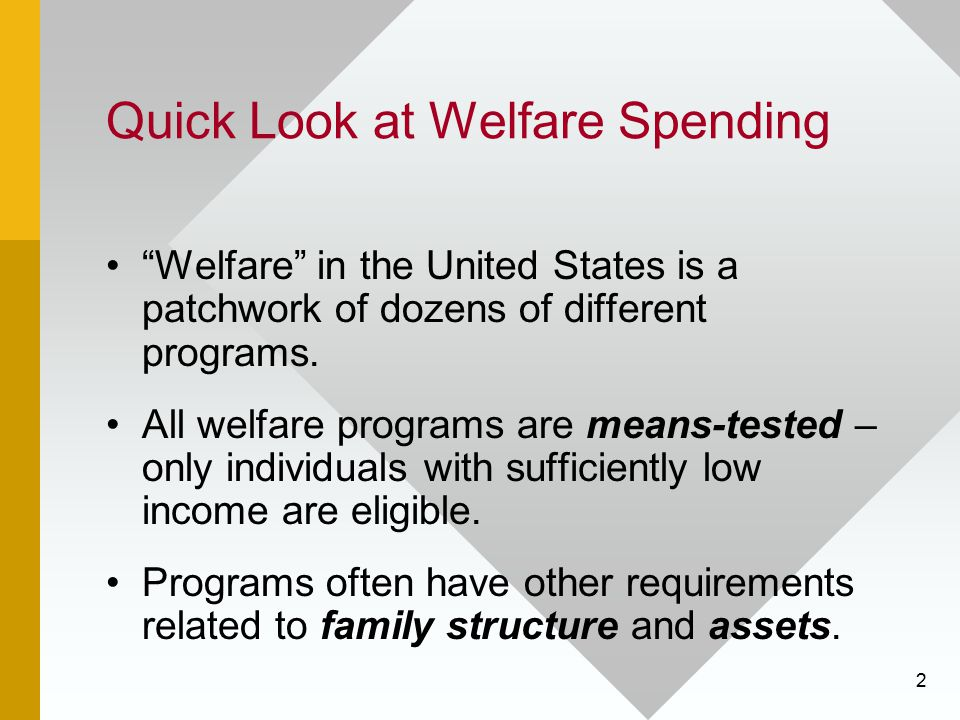 "2 Quick Look at Welfare Spending ""Welfare"" in the United States is a patchwork of dozens of different programs. All welfare programs are means-tested"