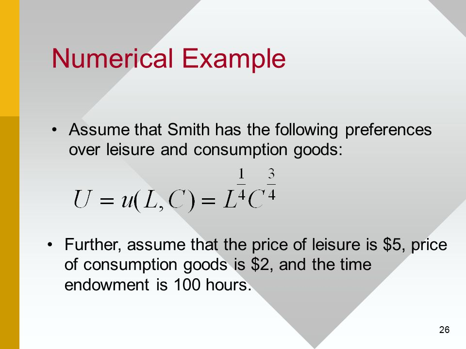 26 Numerical Example Assume that Smith has the following preferences over leisure and consumption goods: Further, assume that the price of leisure is
