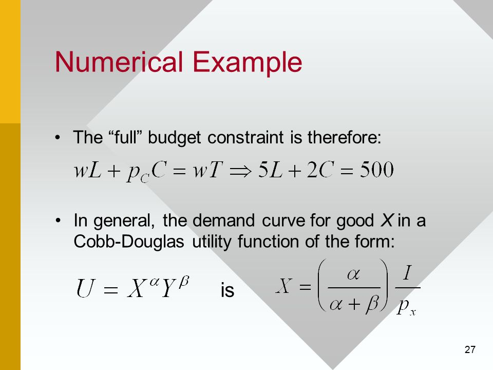 "27 Numerical Example The ""full"" budget constraint is therefore: In general, the demand curve for good X in a Cobb-Douglas utility function of the form"