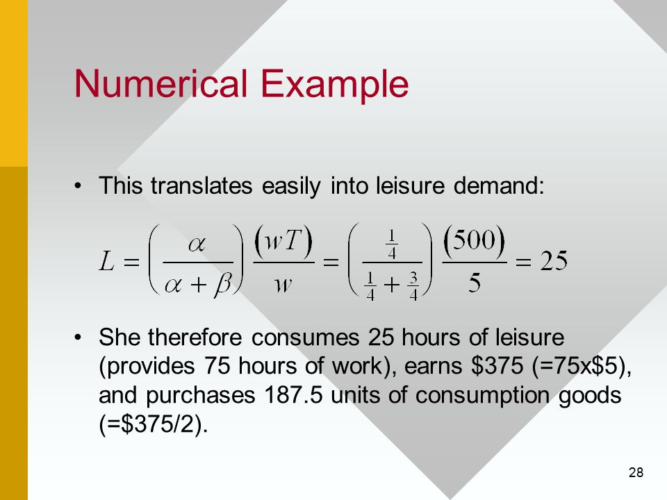 28 Numerical Example This translates easily into leisure demand: She therefore consumes 25 hours of leisure (provides 75 hours of work), earns $375 (=