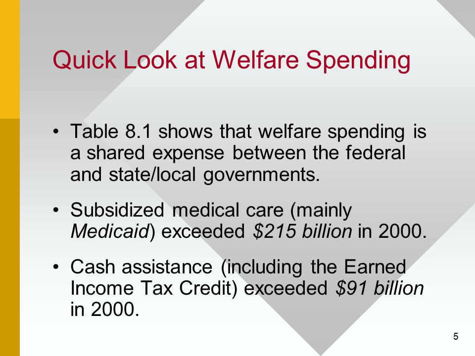 5 Quick Look at Welfare Spending Table 8.1 shows that welfare spending is a shared expense between the federal and state/local governments. Subsidized