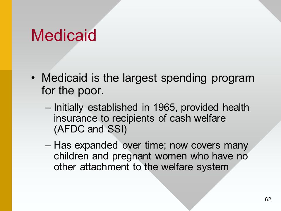 62 Medicaid Medicaid is the largest spending program for the poor. –Initially established in 1965, provided health insurance to recipients of cash wel