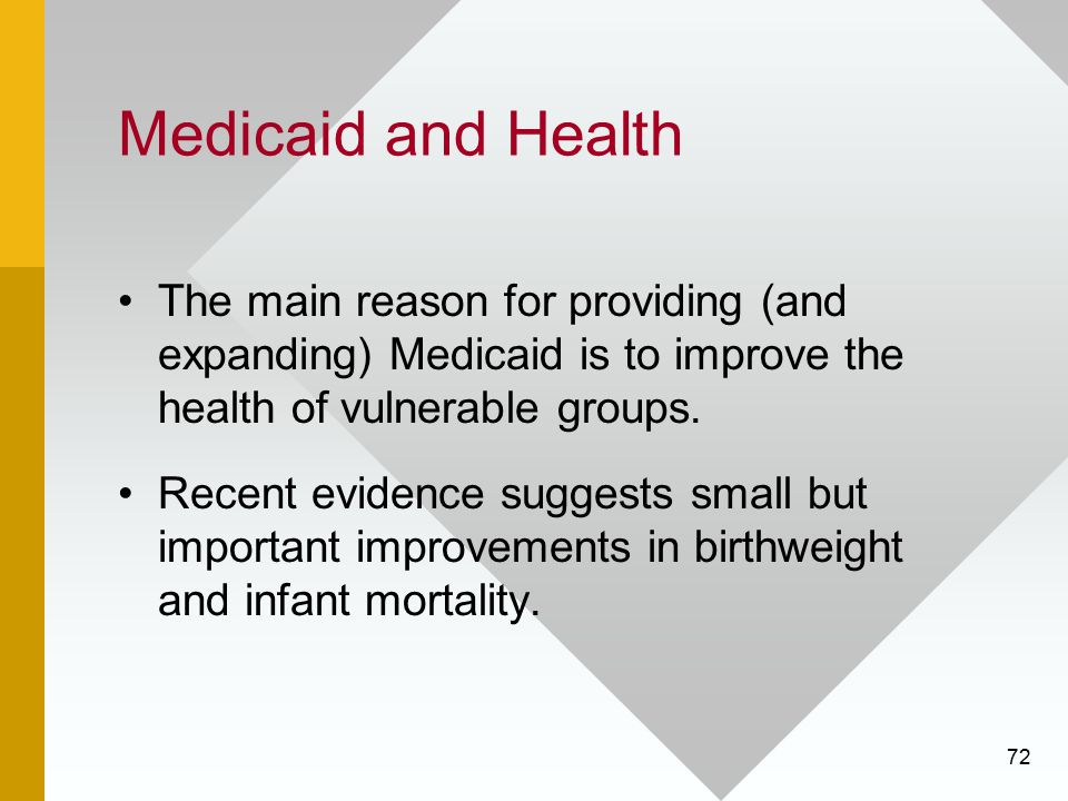 72 Medicaid and Health The main reason for providing (and expanding) Medicaid is to improve the health of vulnerable groups. Recent evidence suggests