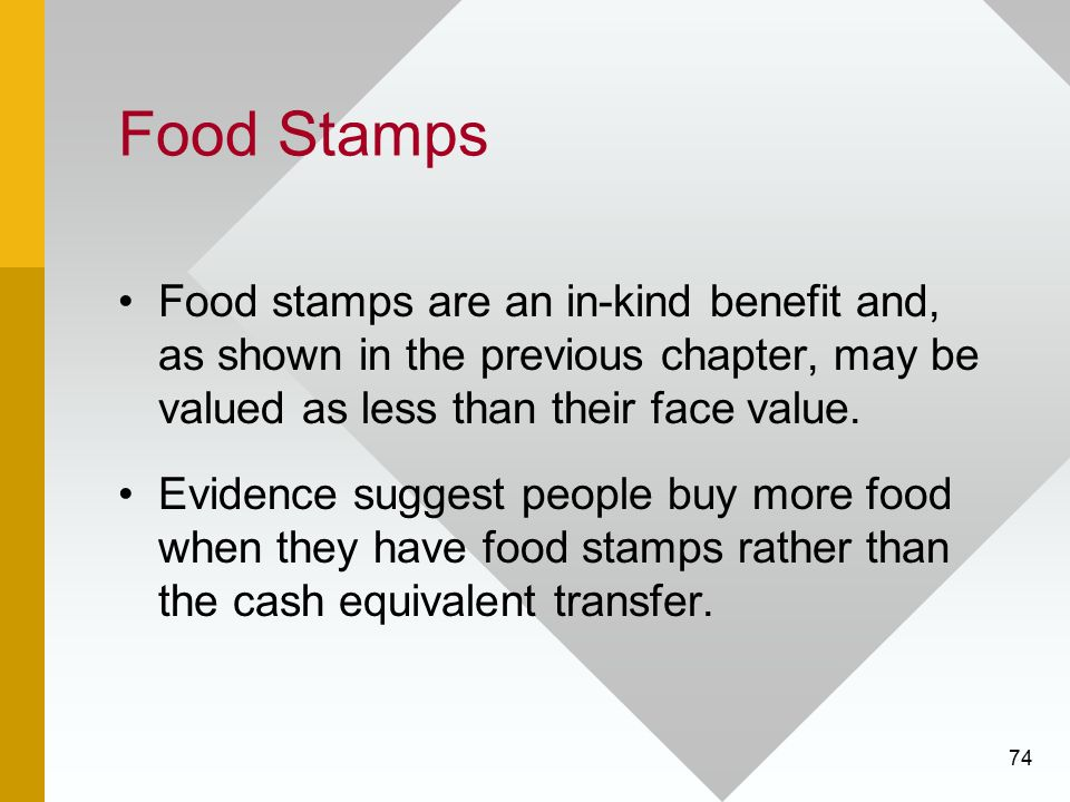 74 Food Stamps Food stamps are an in-kind benefit and, as shown in the previous chapter, may be valued as less than their face value. Evidence suggest