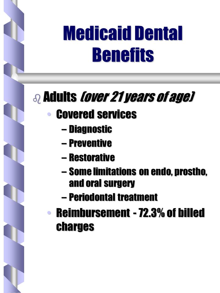 Medicaid Dental Benefits b Adults (over 21 years of age) Covered servicesCovered services –Diagnostic –Preventive –Restorative –Some limitations on endo, prostho, and oral surgery –Periodontal treatment Reimbursement - 72.3% of billed chargesReimbursement - 72.3% of billed charges