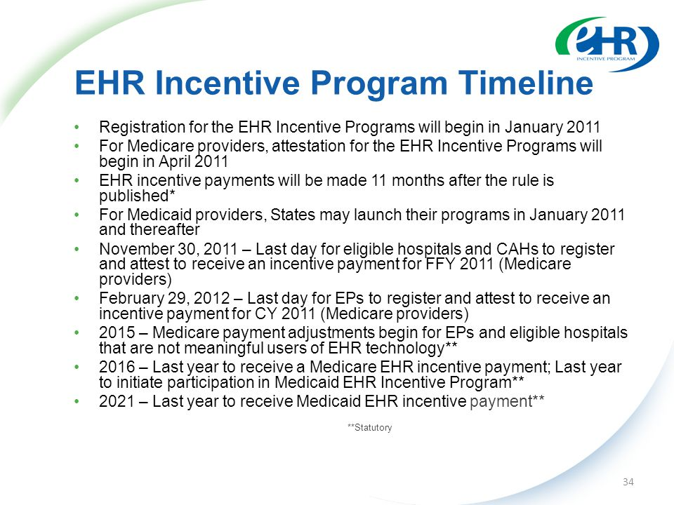 EHR Incentive Program Timeline Registration for the EHR Incentive Programs will begin in January 2011 For Medicare providers, attestation for the EHR Incentive Programs will begin in April 2011 EHR incentive payments will be made 11 months after the rule is published* For Medicaid providers, States may launch their programs in January 2011 and thereafter November 30, 2011 – Last day for eligible hospitals and CAHs to register and attest to receive an incentive payment for FFY 2011 (Medicare providers) February 29, 2012 – Last day for EPs to register and attest to receive an incentive payment for CY 2011 (Medicare providers) 2015 – Medicare payment adjustments begin for EPs and eligible hospitals that are not meaningful users of EHR technology** 2016 – Last year to receive a Medicare EHR incentive payment; Last year to initiate participation in Medicaid EHR Incentive Program** 2021 – Last year to receive Medicaid EHR incentive payment** **Statutory 34