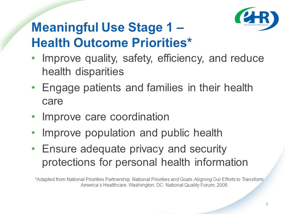 Meaningful Use Stage 1 – Health Outcome Priorities* Improve quality, safety, efficiency, and reduce health disparities Engage patients and families in their health care Improve care coordination Improve population and public health Ensure adequate privacy and security protections for personal health information *Adapted from National Priorities Partnership.