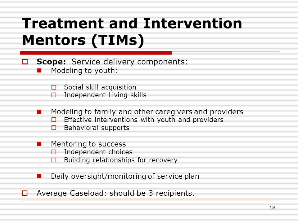 18 Treatment and Intervention Mentors (TIMs)  Scope: Service delivery components: Modeling to youth:  Social skill acquisition  Independent Living skills Modeling to family and other caregivers and providers  Effective interventions with youth and providers  Behavioral supports Mentoring to success  Independent choices  Building relationships for recovery Daily oversight/monitoring of service plan  Average Caseload: should be 3 recipients.