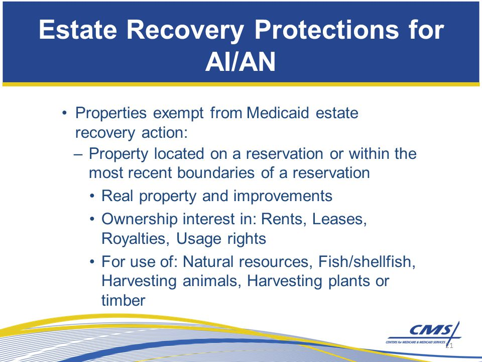 Properties exempt from Medicaid estate recovery action: –Property located on a reservation or within the most recent boundaries of a reservation Real property and improvements Ownership interest in: Rents, Leases, Royalties, Usage rights For use of: Natural resources, Fish/shellfish, Harvesting animals, Harvesting plants or timber Estate Recovery Protections for AI/AN 21
