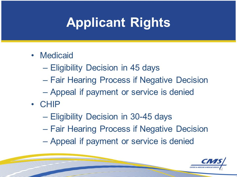 Medicaid –Eligibility Decision in 45 days –Fair Hearing Process if Negative Decision –Appeal if payment or service is denied CHIP –Eligibility Decision in 30-45 days –Fair Hearing Process if Negative Decision –Appeal if payment or service is denied Applicant Rights 32