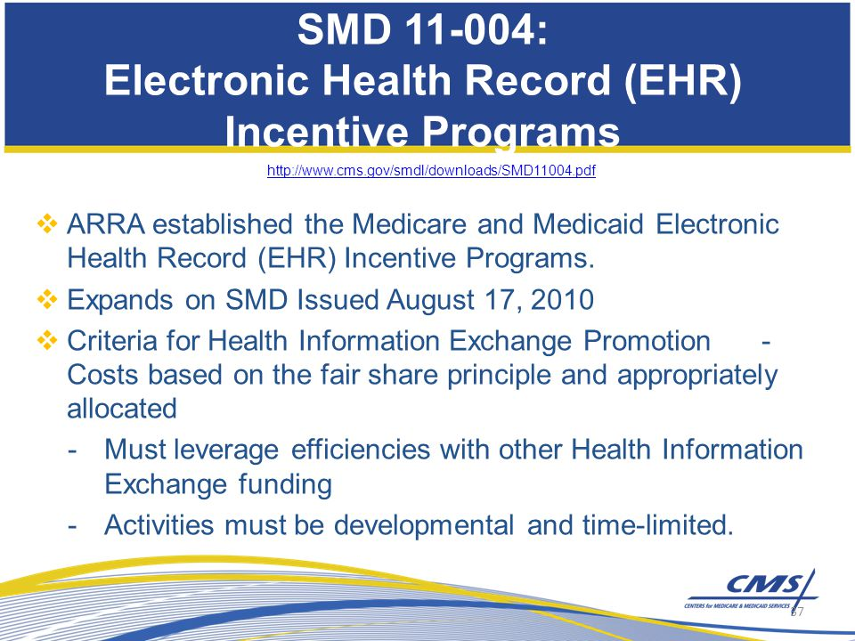 SMD 11-004: Electronic Health Record (EHR) Incentive Programs http://www.cms.gov/smdl/downloads/SMD11004.pdf  ARRA established the Medicare and Medicaid Electronic Health Record (EHR) Incentive Programs.