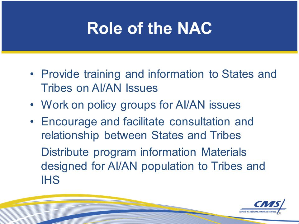 Role of the NAC Provide training and information to States and Tribes on AI/AN Issues Work on policy groups for AI/AN issues Encourage and facilitate consultation and relationship between States and Tribes Distribute program information Materials designed for AI/AN population to Tribes and IHS 55