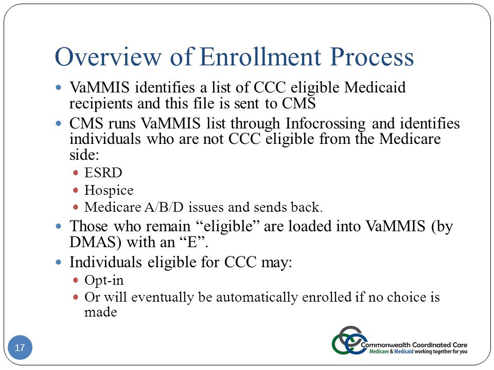 Overview of Enrollment Process VaMMIS identifies a list of CCC eligible Medicaid recipients and this file is sent to CMS CMS runs VaMMIS list through Infocrossing and identifies individuals who are not CCC eligible from the Medicare side: ESRD Hospice Medicare A/B/D issues and sends back.