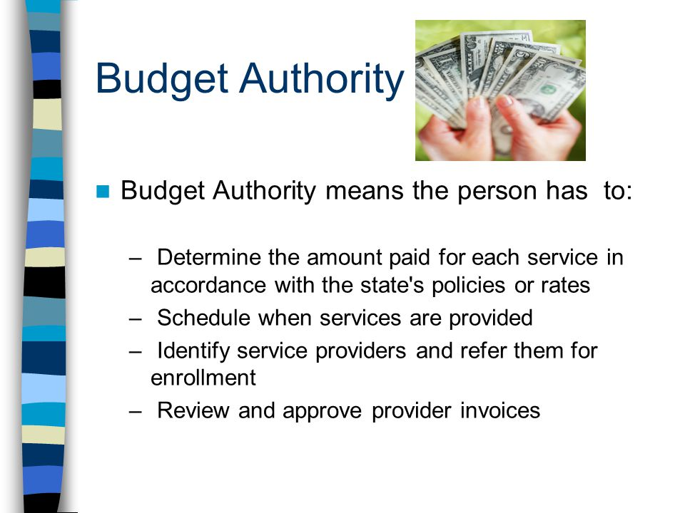 Budget Authority Budget Authority means the person has to: – Determine the amount paid for each service in accordance with the state s policies or rates – Schedule when services are provided – Identify service providers and refer them for enrollment – Review and approve provider invoices