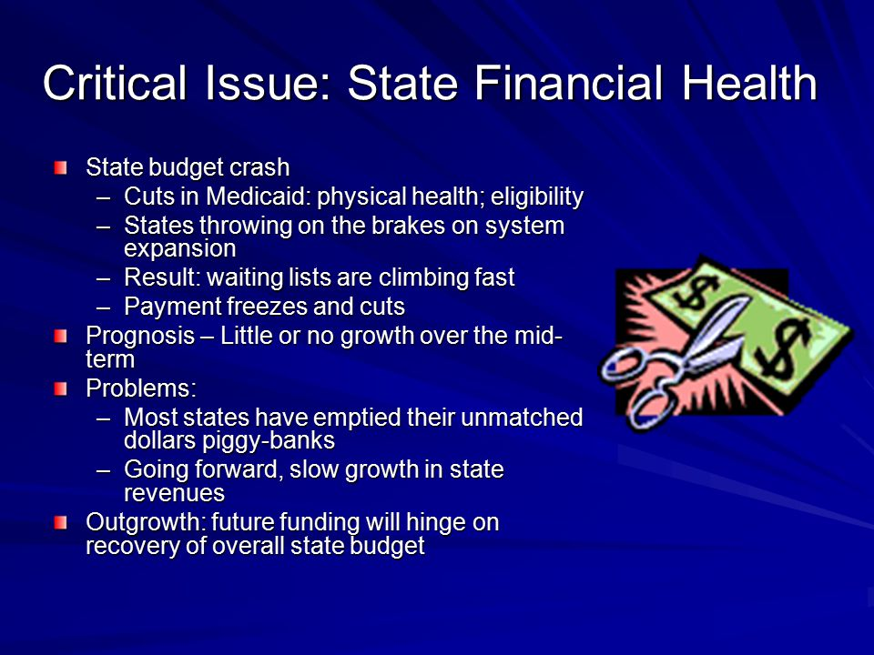 Critical Issue: State Financial Health State budget crash –Cuts in Medicaid: physical health; eligibility –States throwing on the brakes on system expansion –Result: waiting lists are climbing fast –Payment freezes and cuts Prognosis – Little or no growth over the mid- term Problems: –Most states have emptied their unmatched dollars piggy-banks –Going forward, slow growth in state revenues Outgrowth: future funding will hinge on recovery of overall state budget