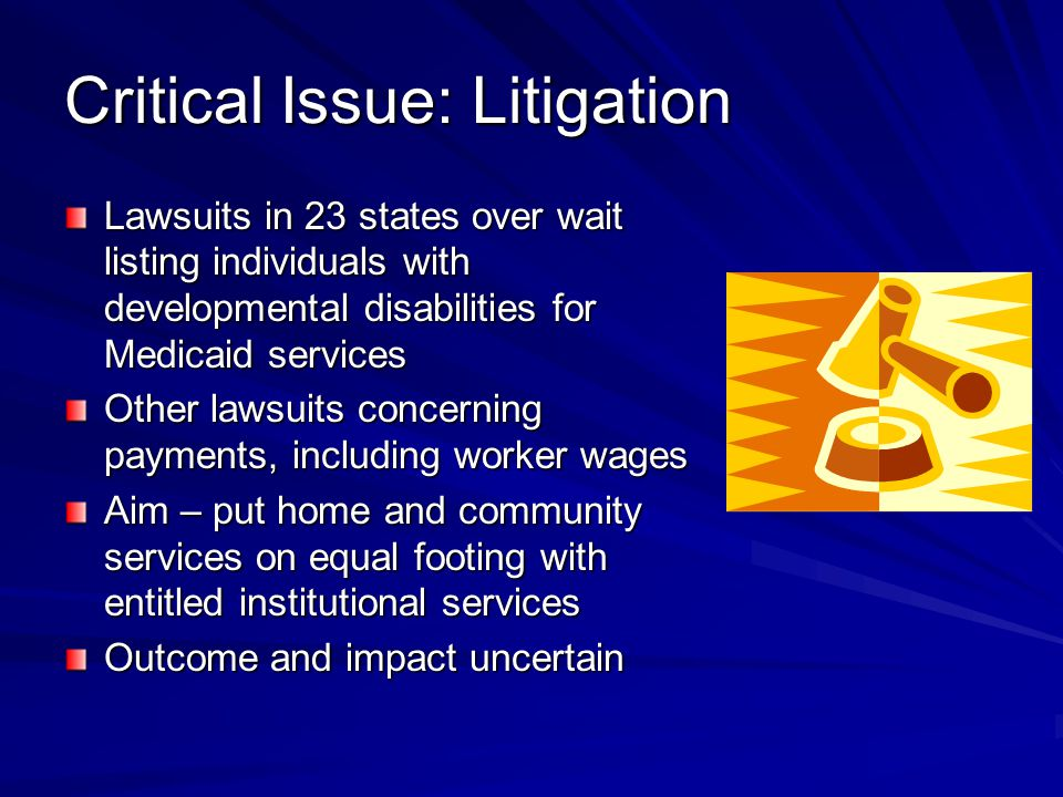 Critical Issue: Litigation Lawsuits in 23 states over wait listing individuals with developmental disabilities for Medicaid services Other lawsuits concerning payments, including worker wages Aim – put home and community services on equal footing with entitled institutional services Outcome and impact uncertain
