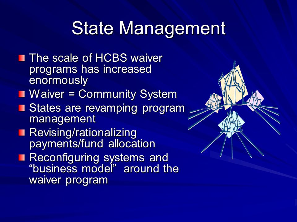 State Management The scale of HCBS waiver programs has increased enormously Waiver = Community System States are revamping program management Revising/rationalizing payments/fund allocation Reconfiguring systems and business model around the waiver program