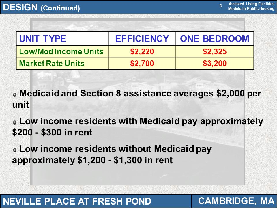 Assisted Living Facilities Models in Public Housing 5 Medicaid and Section 8 assistance averages $2,000 per unit Low income residents with Medicaid pa