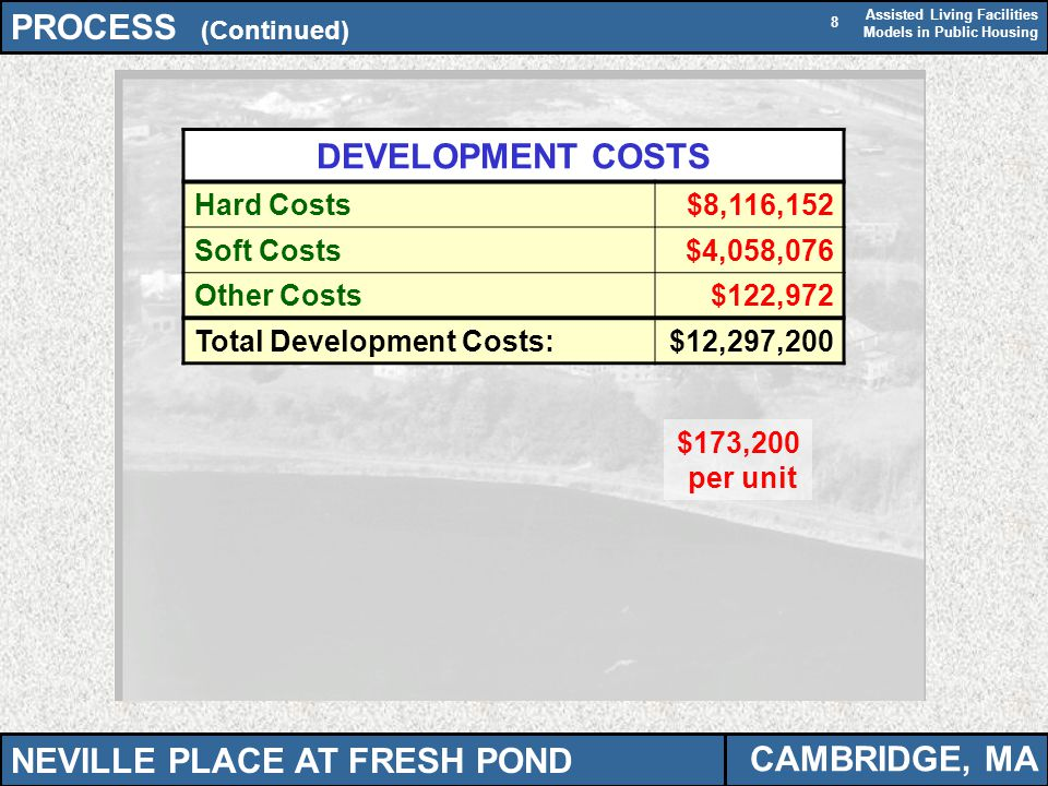 Assisted Living Facilities Models in Public Housing 8 PROCESS (Continued) CAMBRIDGE, MA DEVELOPMENT COSTS Hard Costs$8,116,152 Soft Costs$4,058,076 Ot