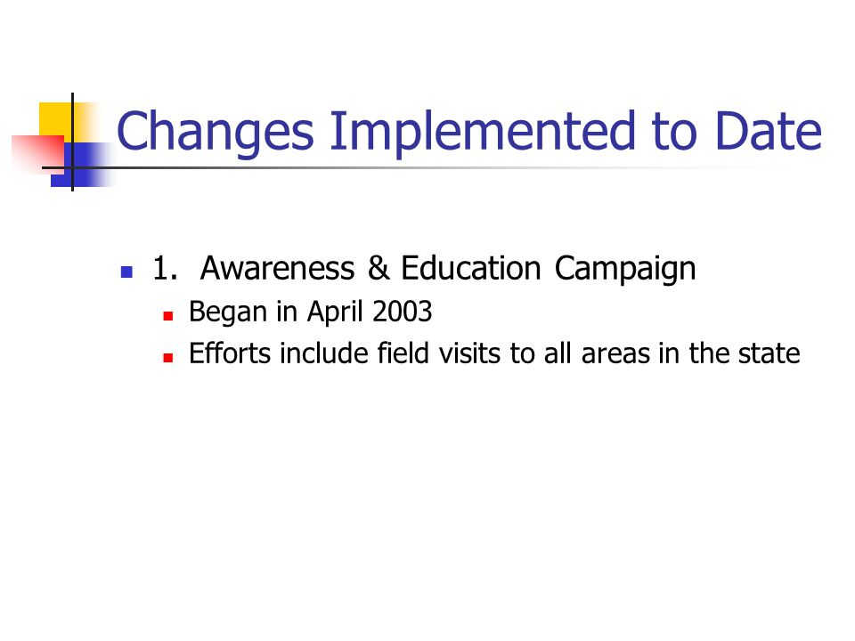 Changes Implemented to Date 1. Awareness & Education Campaign Began in April 2003 Efforts include field visits to all areas in the state