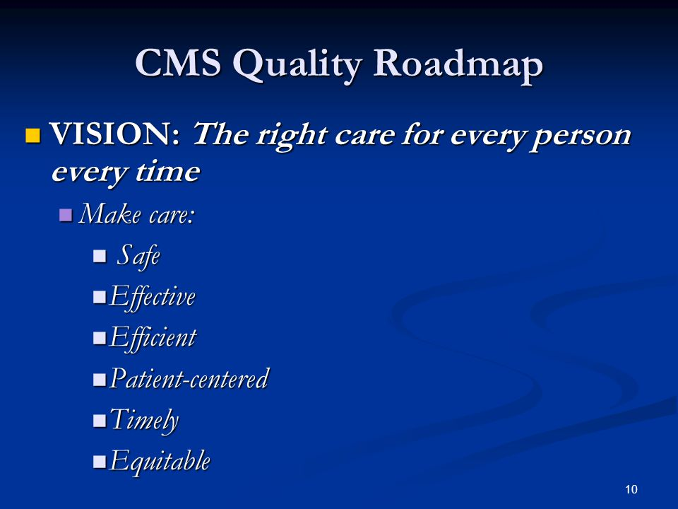 10 CMS Quality Roadmap VISION: The right care for every person every time VISION: The right care for every person every time Make care: Make care: Safe Safe Effective Effective Efficient Efficient Patient-centered Patient-centered Timely Timely Equitable Equitable