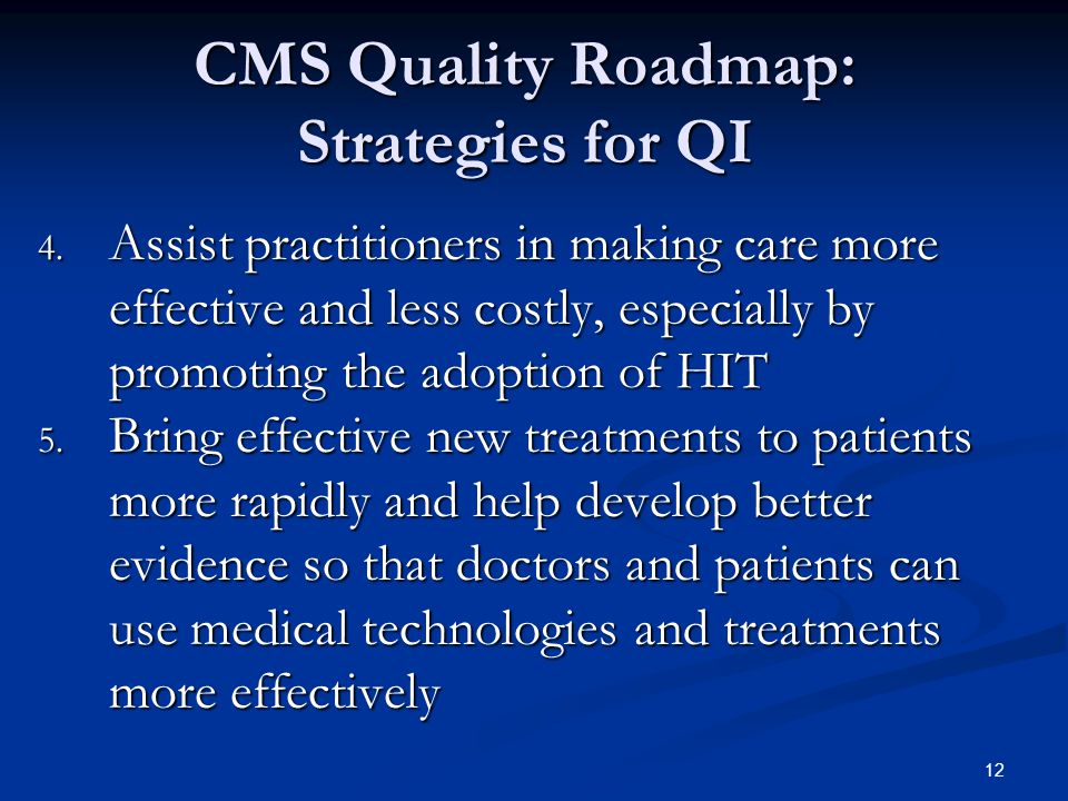 12 CMS Quality Roadmap: Strategies for QI 4.