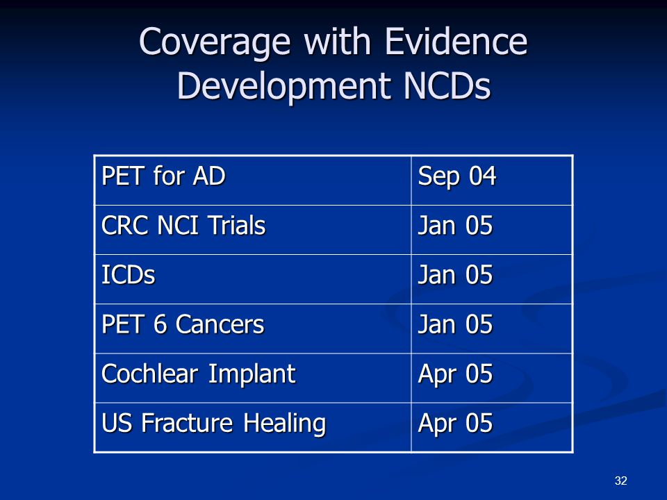 32 Coverage with Evidence Development NCDs PET for AD Sep 04 CRC NCI Trials Jan 05 ICDs PET 6 Cancers Jan 05 Cochlear Implant Apr 05 US Fracture Healing Apr 05