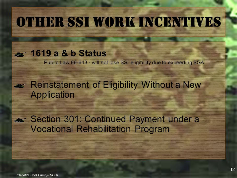 12 (Benefits Boot Camp)- SECT Other SSI Work Incentives 1619 a & b Status Public Law 99-643 - will not lose SSI eligibility due to exceeding SGA Reins
