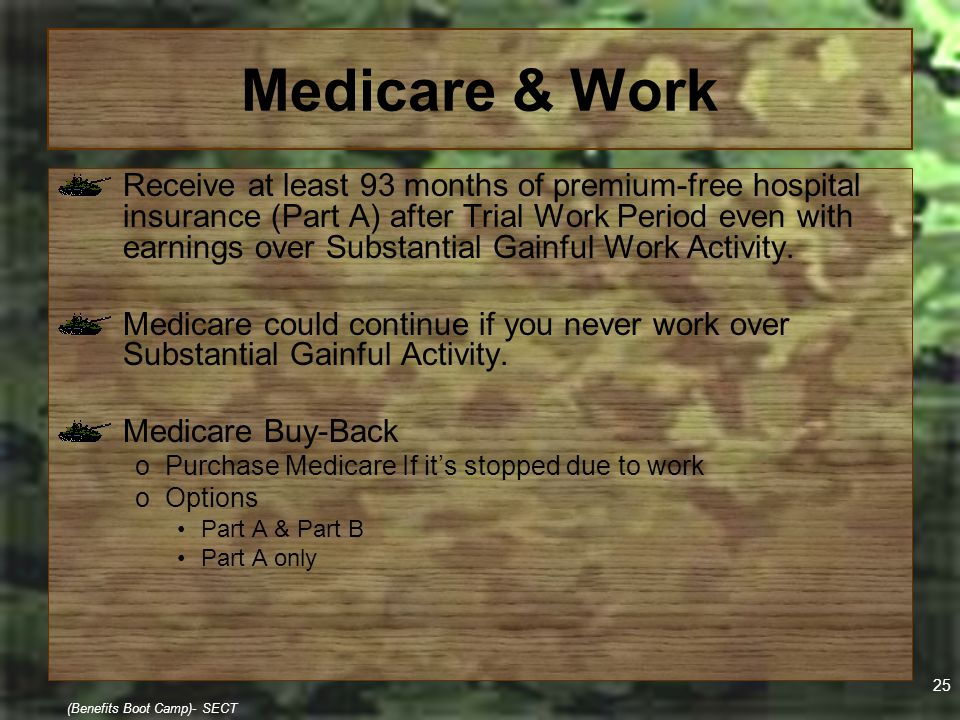 25 (Benefits Boot Camp)- SECT Medicare & Work Receive at least 93 months of premium-free hospital insurance (Part A) after Trial Work Period even with