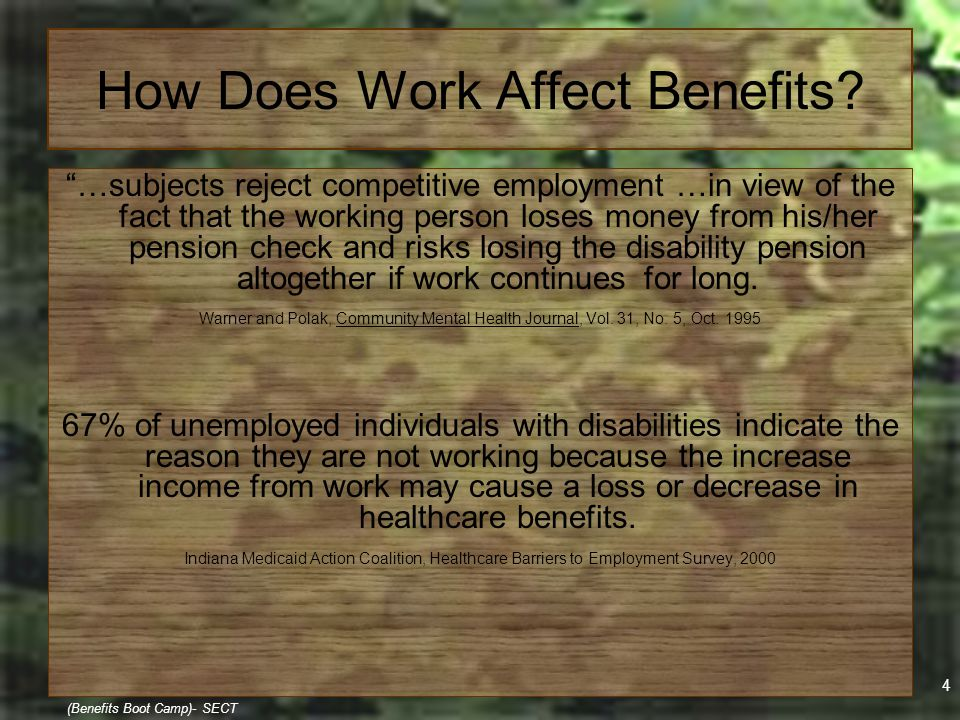 """4 (Benefits Boot Camp)- SECT How Does Work Affect Benefits? """"…subjects reject competitive employment …in view of the fact that the working person lose"""