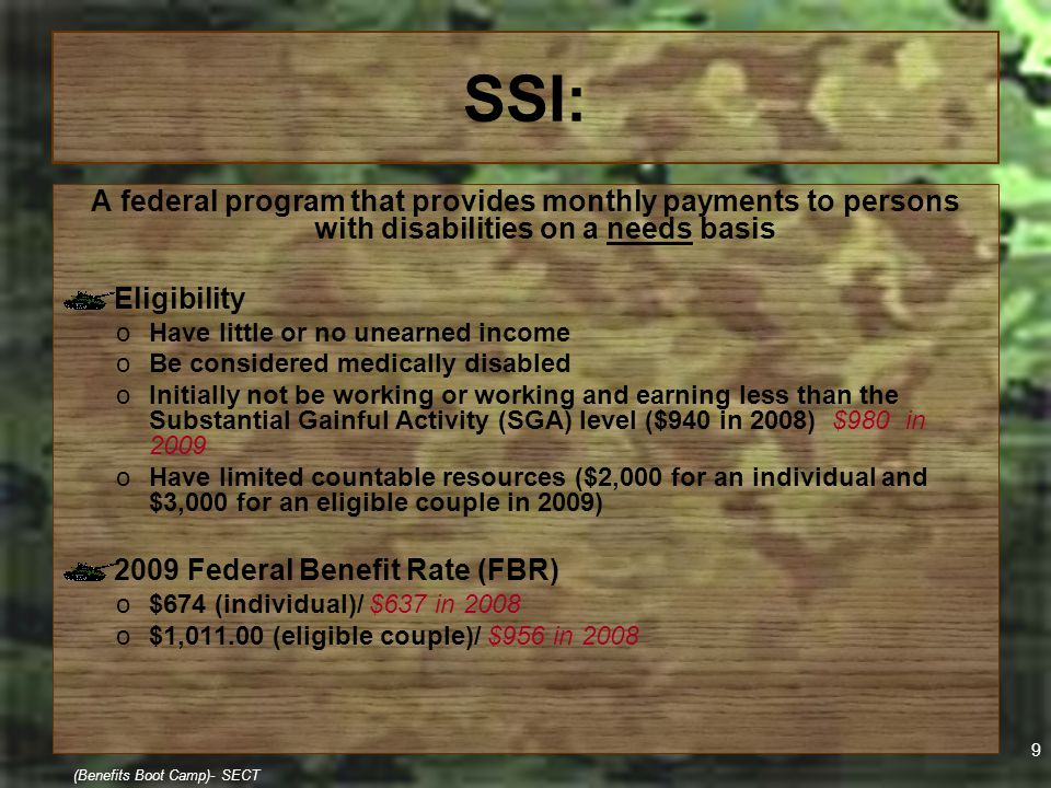 20 (Benefits Boot Camp)- SECT Medicaid & Work 1619 Status the big gun!!! o1619 (a) Must receive SSI & Medicaid Protects an individual's Medicaid eligibility without a spend-down when earning exceed SGA o1619 (b) Must receive SSI & Medicaid Protects an individual's Medicaid eligibility without a spend-down when his/her SSI check is reduced to zero (0) due to earnings