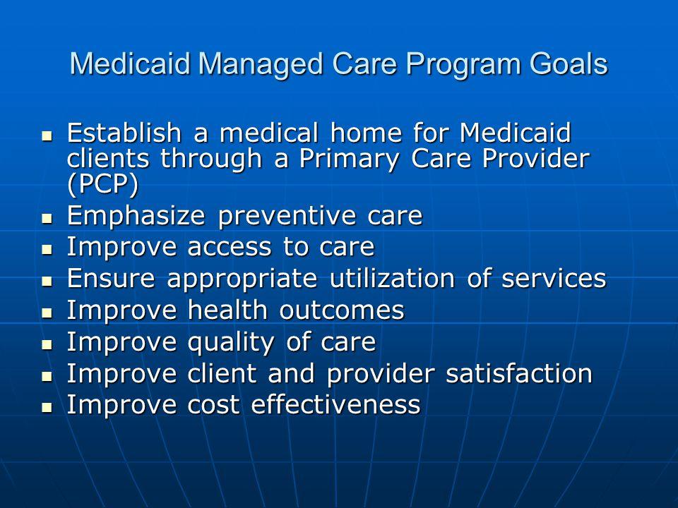 Medicaid Managed Care Program Goals Establish a medical home for Medicaid clients through a Primary Care Provider (PCP) Establish a medical home for M