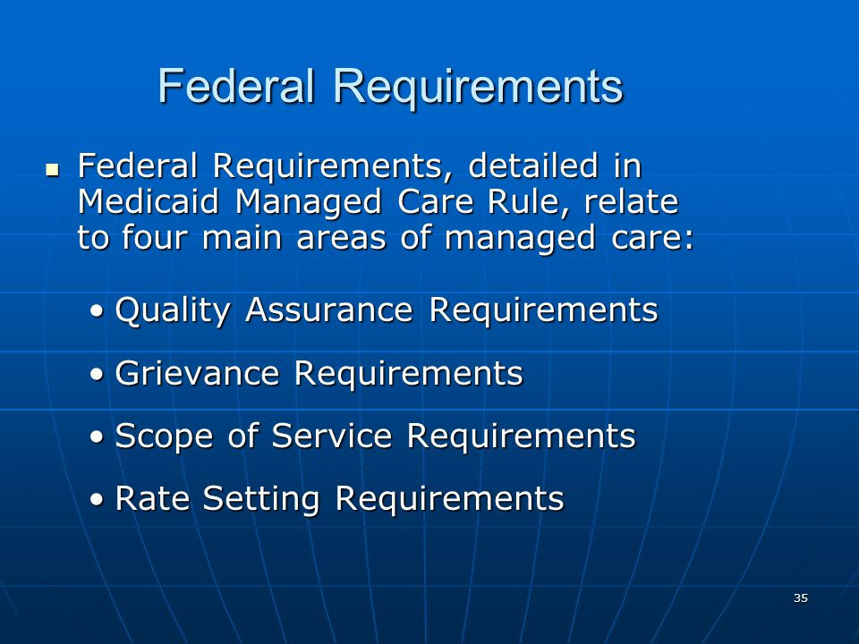 35 Federal Requirements Federal Requirements, detailed in Medicaid Managed Care Rule, relate to four main areas of managed care: Federal Requirements, detailed in Medicaid Managed Care Rule, relate to four main areas of managed care: Quality Assurance RequirementsQuality Assurance Requirements Grievance RequirementsGrievance Requirements Scope of Service RequirementsScope of Service Requirements Rate Setting RequirementsRate Setting Requirements