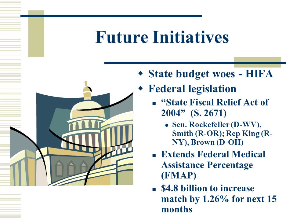 Future Initiatives  State budget woes - HIFA  Federal legislation State Fiscal Relief Act of 2004 (S.