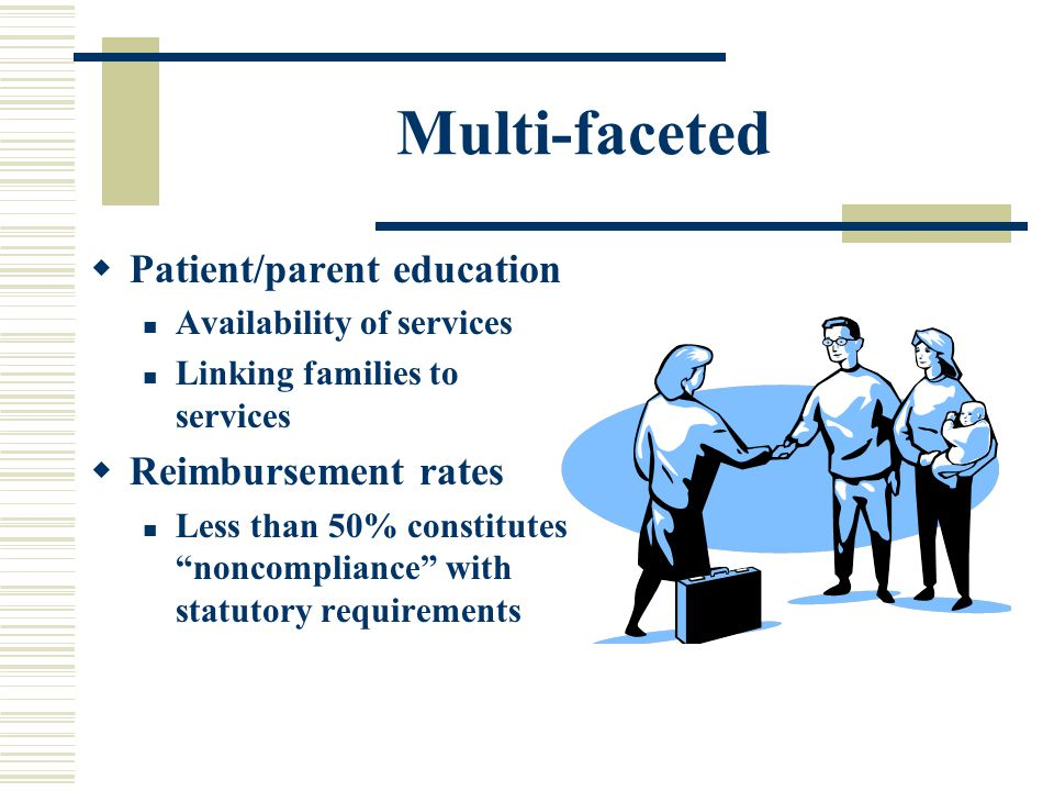 Multi-faceted  Patient/parent education Availability of services Linking families to services  Reimbursement rates Less than 50% constitutes noncompliance with statutory requirements