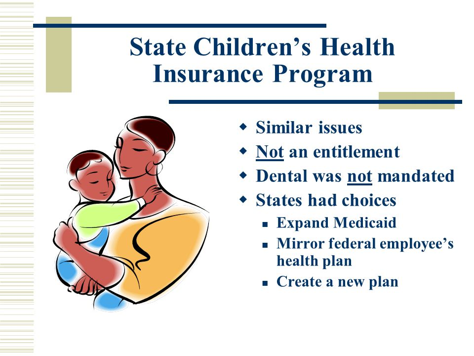 State Children's Health Insurance Program  Similar issues  Not an entitlement  Dental was not mandated  States had choices Expand Medicaid Mirror federal employee's health plan Create a new plan