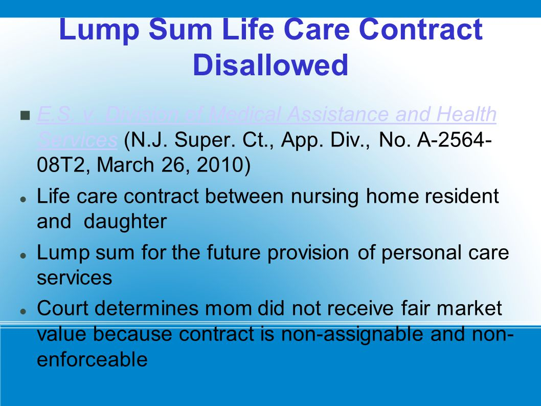 Lump Sum Life Care Contract Disallowed E.S. v.