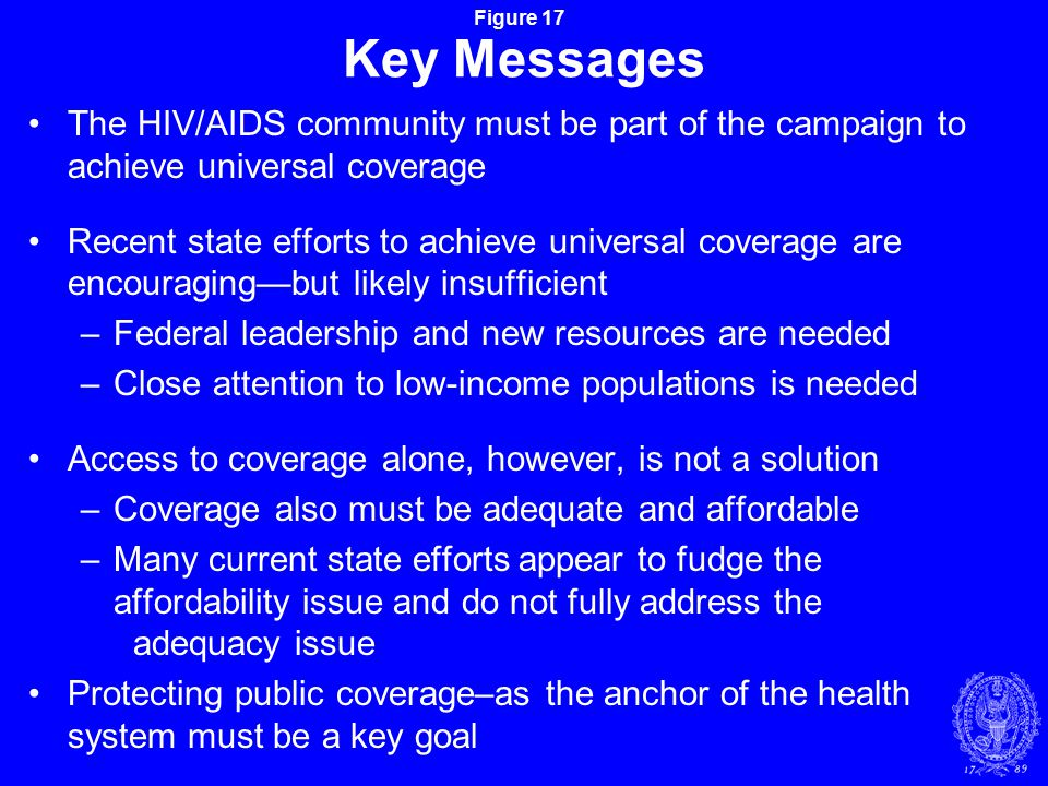 Figure 17 Key Messages The HIV/AIDS community must be part of the campaign to achieve universal coverage Recent state efforts to achieve universal coverage are encouraging—but likely insufficient –Federal leadership and new resources are needed –Close attention to low-income populations is needed Access to coverage alone, however, is not a solution –Coverage also must be adequate and affordable –Many current state efforts appear to fudge the affordability issue and do not fully address the adequacy issue Protecting public coverage–as the anchor of the health system must be a key goal