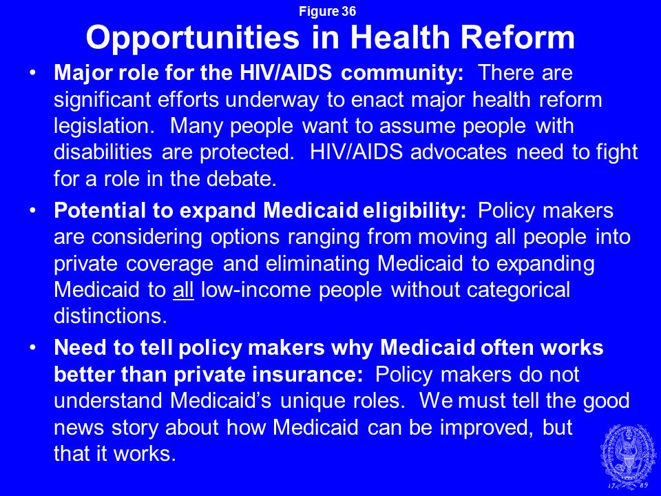 Figure 36 Opportunities in Health Reform Major role for the HIV/AIDS community: There are significant efforts underway to enact major health reform legislation.
