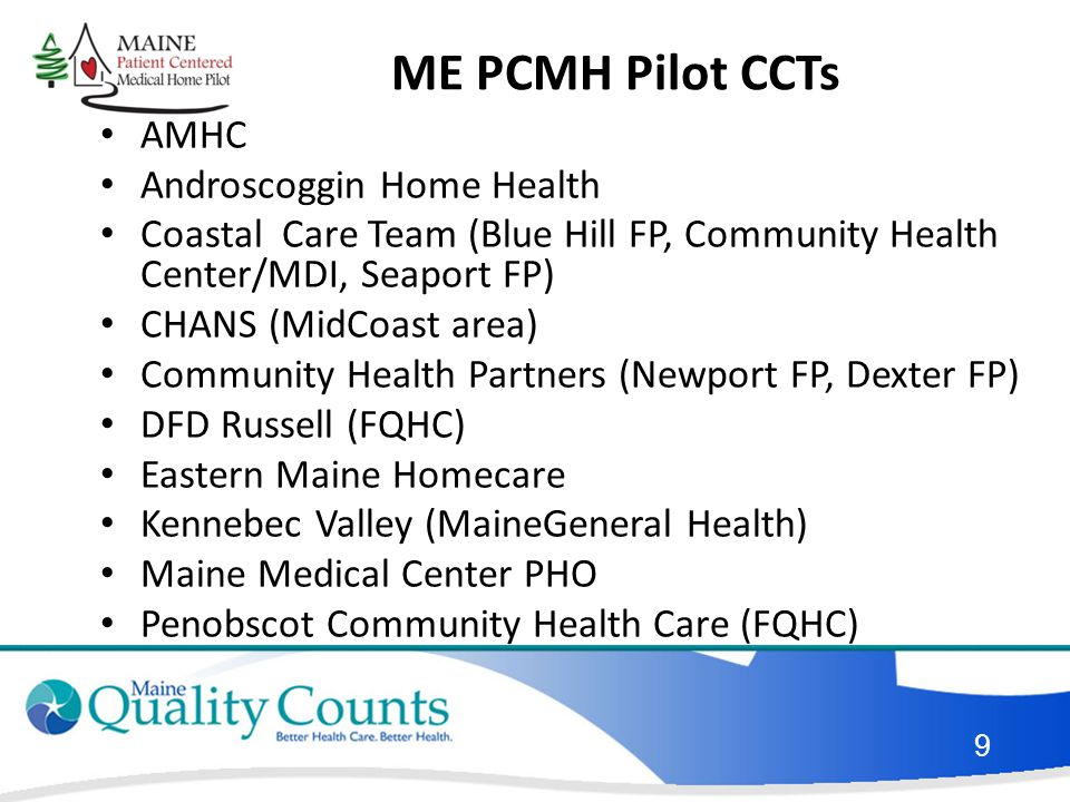 ME PCMH Pilot CCTs AMHC Androscoggin Home Health Coastal Care Team (Blue Hill FP, Community Health Center/MDI, Seaport FP) CHANS (MidCoast area) Community Health Partners (Newport FP, Dexter FP) DFD Russell (FQHC) Eastern Maine Homecare Kennebec Valley (MaineGeneral Health) Maine Medical Center PHO Penobscot Community Health Care (FQHC) 9