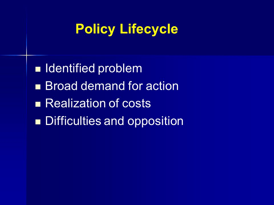 Policy Lifecycle Identified problem Broad demand for action Realization of costs Difficulties and opposition