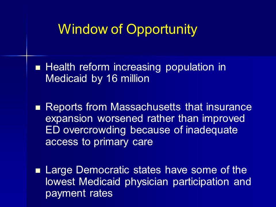 Window of Opportunity Health reform increasing population in Medicaid by 16 million Reports from Massachusetts that insurance expansion worsened rather than improved ED overcrowding because of inadequate access to primary care Large Democratic states have some of the lowest Medicaid physician participation and payment rates