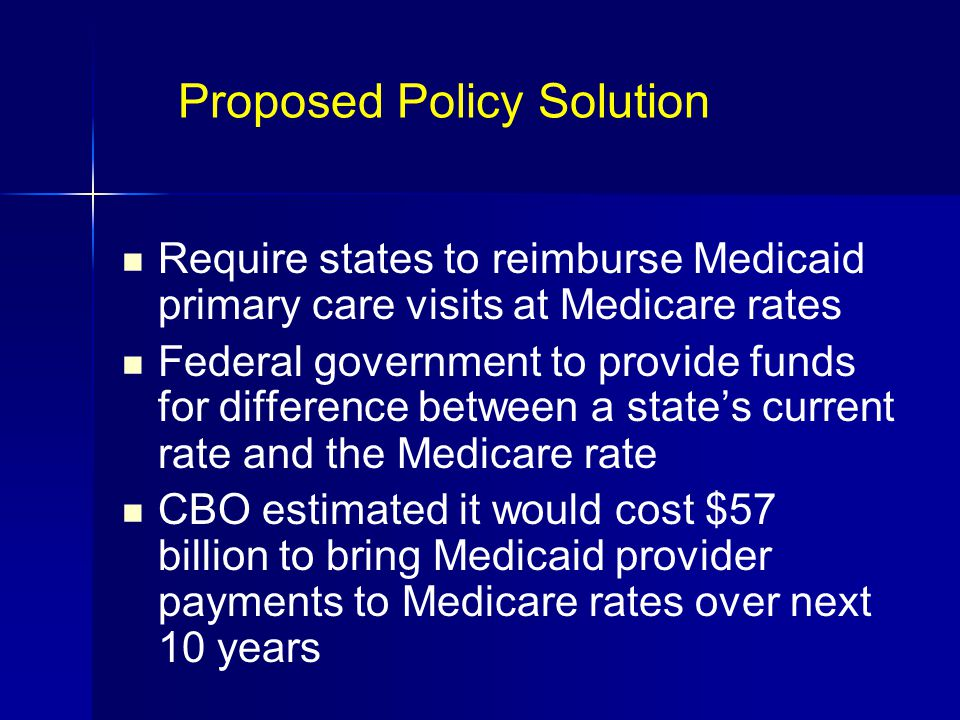 Proposed Policy Solution Require states to reimburse Medicaid primary care visits at Medicare rates Federal government to provide funds for difference between a state's current rate and the Medicare rate CBO estimated it would cost $57 billion to bring Medicaid provider payments to Medicare rates over next 10 years