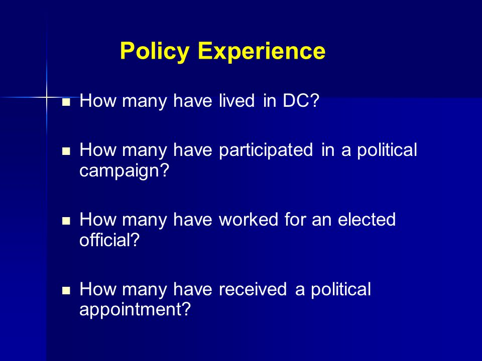 Policy Experience How many have lived in DC. How many have participated in a political campaign.