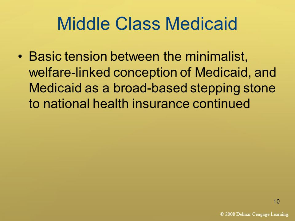 © 2008 Delmar Cengage Learning. 10 Middle Class Medicaid Basic tension between the minimalist, welfare-linked conception of Medicaid, and Medicaid as