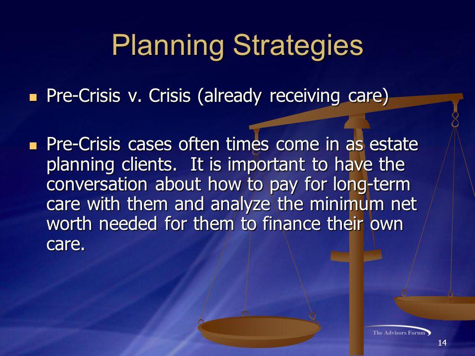 14 Planning Strategies Pre-Crisis v. Crisis (already receiving care) Pre-Crisis v.