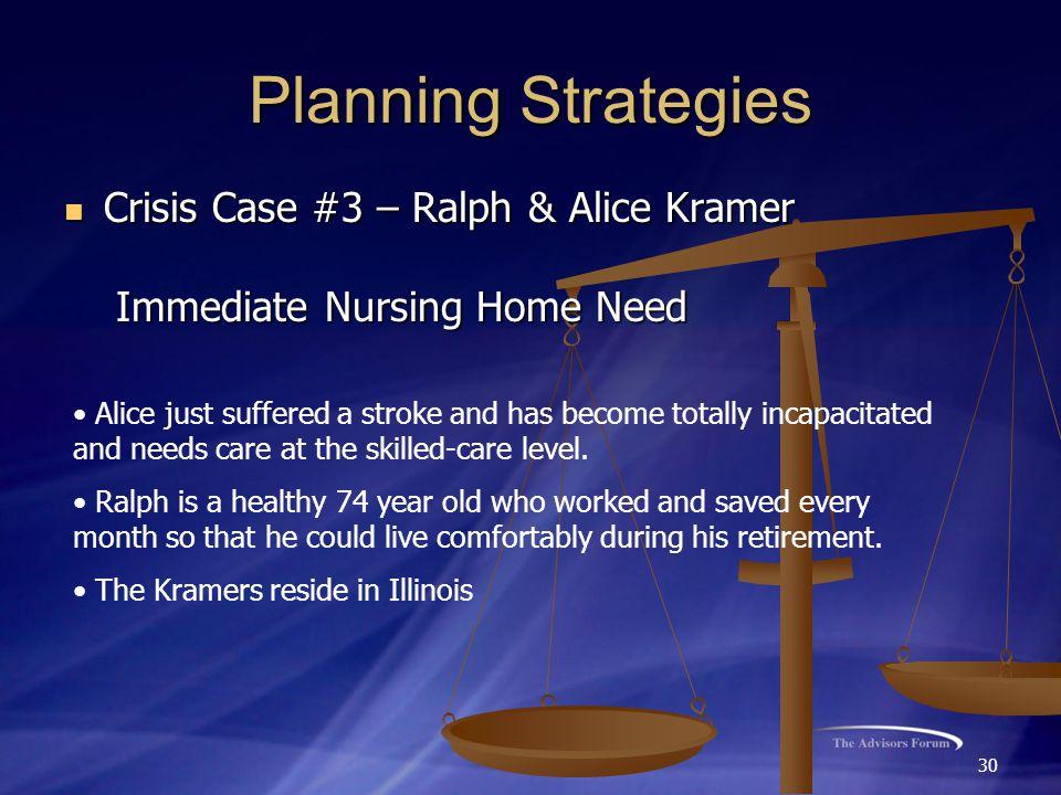 30 Planning Strategies Crisis Case #3 – Ralph & Alice Kramer Crisis Case #3 – Ralph & Alice Kramer Immediate Nursing Home Need Immediate Nursing Home