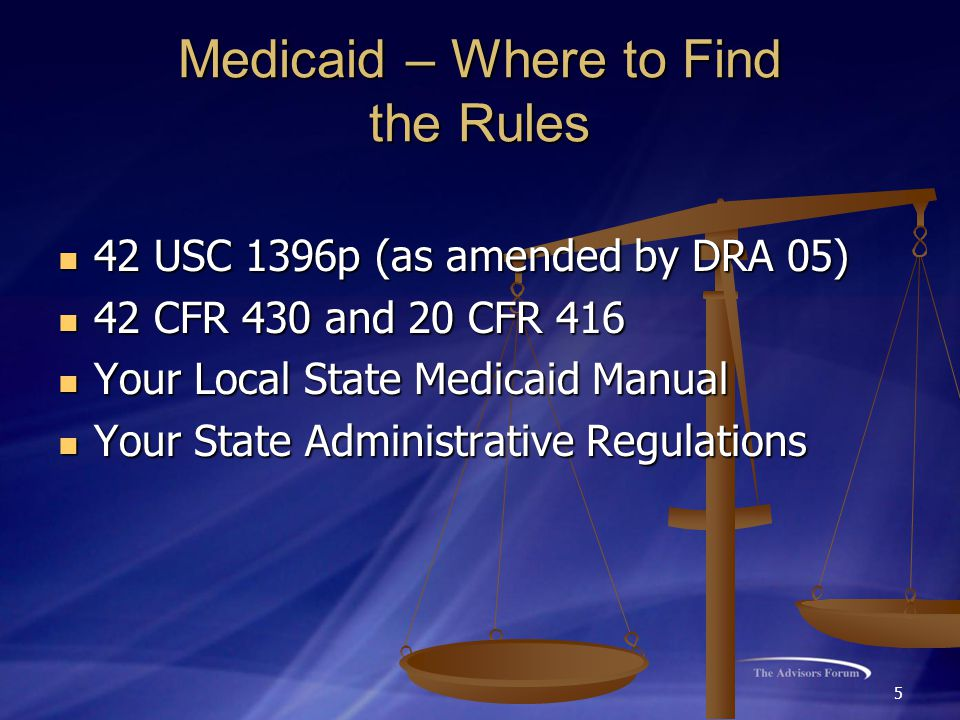 5 Medicaid – Where to Find the Rules 42 USC 1396p (as amended by DRA 05) 42 USC 1396p (as amended by DRA 05) 42 CFR 430 and 20 CFR 416 42 CFR 430 and